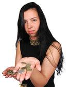 Para kız uzanır — Stok fotoğraf