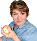 Woman whith apple — Stock Photo