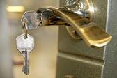 A house door lock and keys — Stock Photo
