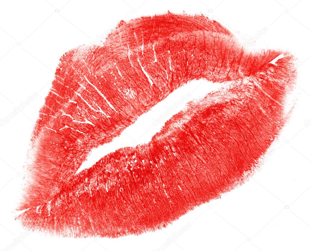 Lovely red woman lips isolated on white  Stock Photo #1015001