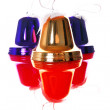 Stock Photo: Christmas bells with reflections isolate