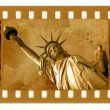 Old 35mm frame photo with NY Statue of L — Stock Photo