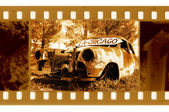 Old 35mm frame photo with american retro — Stock Photo