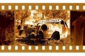Vieja foto de marco de 35mm con retro americano — Foto de Stock