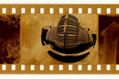 Old 35mm frame film wirh vintage car — Stock Photo