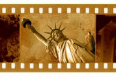 Vieja foto de marco de 35mm con la estatua de ny de l — Foto de Stock