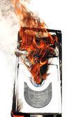 Burninging computer case — Stock Photo