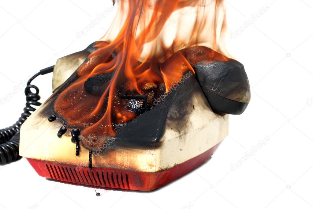 Burning vintage phone — Stock Photo #1025564