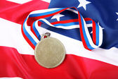 Medal with color Ribbon and USA flag — Stock Photo
