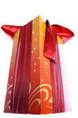 Gift box with red ribbon and bow isolate — Stock Photo