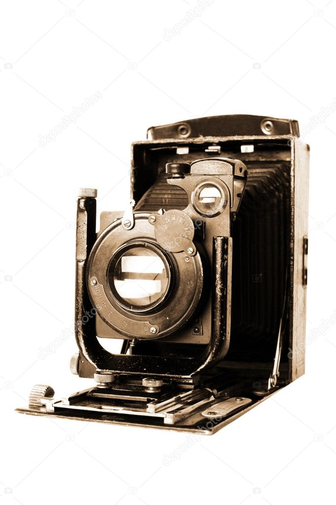 Medium format retro camera isolated on white — Photo #1048794