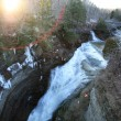 Winter waterfall with sunspot — Photo