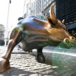 The landmark Charging Bull in Lower Manhattan represents the strength and power of the American — Stock Photo