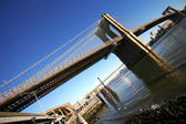Classical NY Brooklyn bridge, view from — Stock Photo