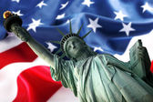 NY Statue of Liberty against a flag of U — Stock Photo