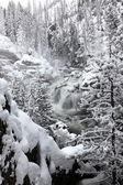 Cascada congelada en nevada, montana, estados unidos — Foto de Stock