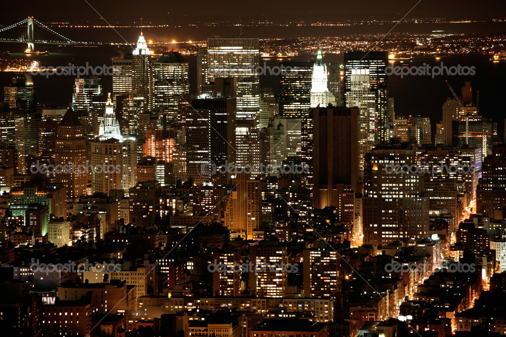 Nighttime in New York, Manhattan — Stockfoto #1063112
