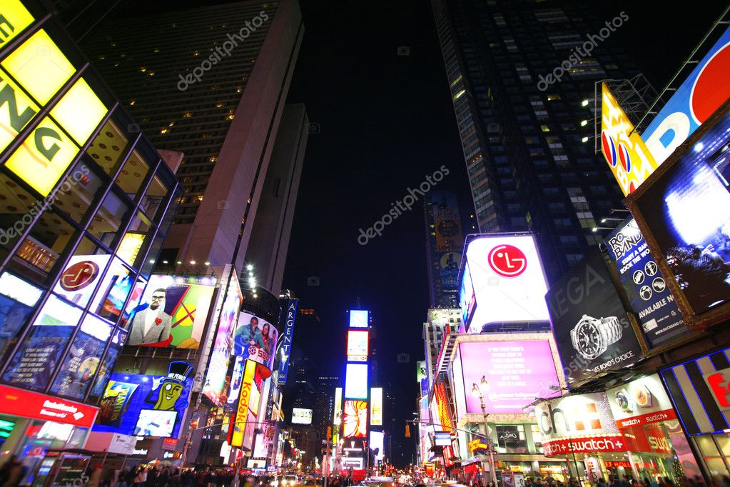 Times Square, New York street night life. New York City, which is the largest and most populous city in the USA — Stock Photo #1063385