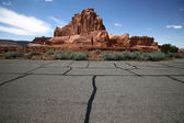 Road in the desert, Arches National Park — Stock Photo