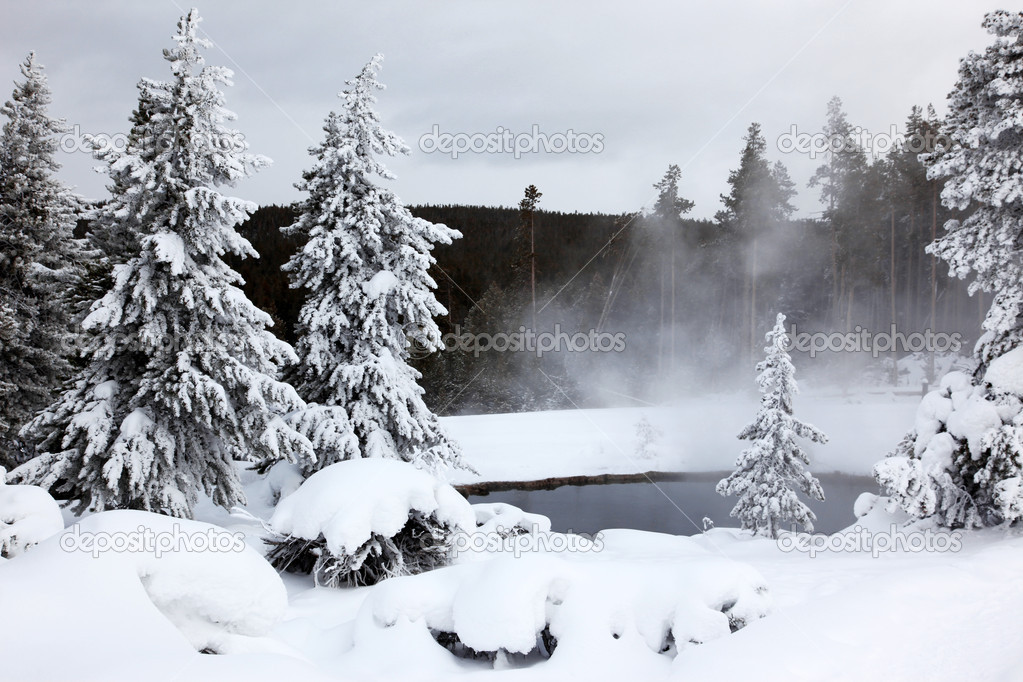 Winter season at lake of Yellowstone National Park,  USA — Stock Photo #1070721