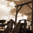 Vintage USA gallows in wild west - Stock Photo