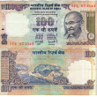 Stock Photo: Both side used 100 rupee bill of India
