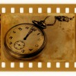 Old 35mm frame photo with vintage clock — Foto Stock