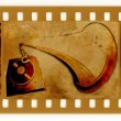 Stock Photo: Old frame and vintage gramophone