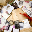Stock Photo: Vintage paper with old books, postcards