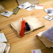 Stock Photo: Vintage paper with books, postcards