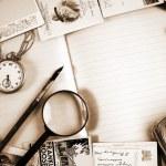 Vintage paper-books, postcards, letters — Stock Photo