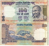 Both side used 100 rupee bill of India — Stock Photo