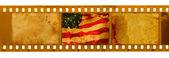 Bandeira de Eua filme grunge texturado — Fotografia Stock