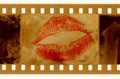 Old 35mm frame photo with red lips — Foto de Stock
