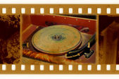 与老式留声机的老歌照片 — 图库照片