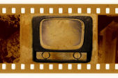 Old 35mm frame photo with vintage TV — Stock Photo