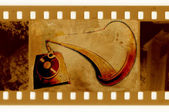 Old frame and vintage gramophone — Stock Photo