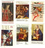 Classical stamps USA with christmas — Stock Photo