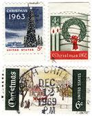 Stamps USA with christmas — Stock Photo