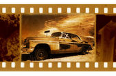 Oldies 35mm frame photo with old car — Stock Photo