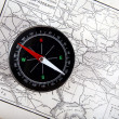 Compass at old map — Stock Photo