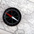 Compass at old map - Stock Photo