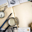 Vintage paper with old books, postcards — Stock Photo