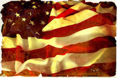 Vintage flapping USA flag with wave — Stock Photo