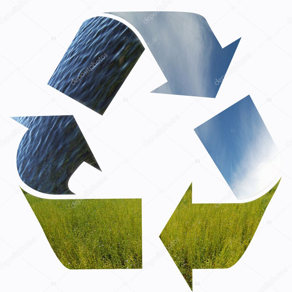 Three arrows of nature elements, recycling symbol — Stock Photo #1638189