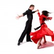 Dancers in action isolated on white — Stock Photo