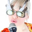 Singer in funny glasses — Stock Photo