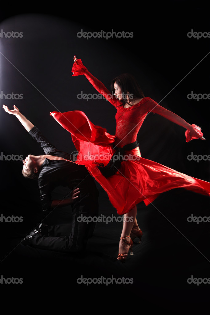 Dancer in action against black background  Stock Photo #1968131