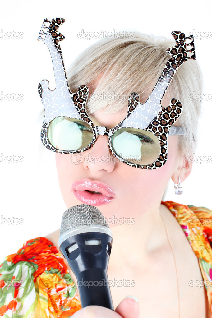 Singer in funny glasses isolated on white — Stock Photo #1969593