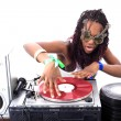 Cool afro american DJ in action — 图库照片